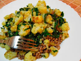 греча с овощами