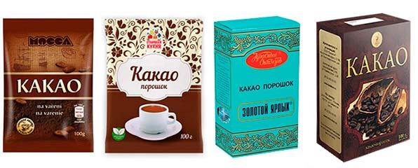 упаковки с какао