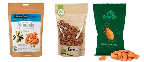 миндальные орехи в упаковке
