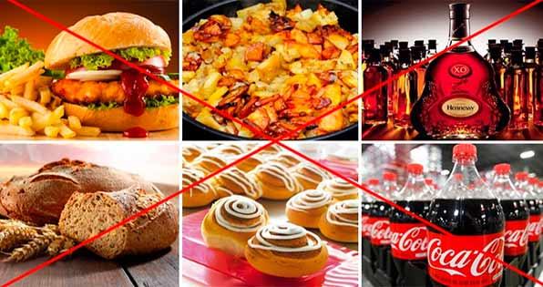 запрещенные при диете продукты