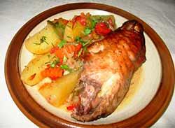 запеченая индейка с овощами