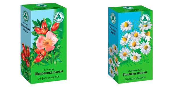 Плоды шиповника и цветки ромашки